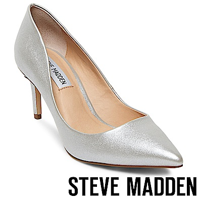 STEVE MADDEN-SABRINAH-素面尖頭中跟鞋-銀色