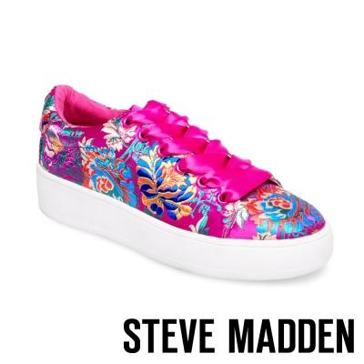 STEVE MADDEN-BRODY-MAGENTA 厚底刺繡綁帶鞋-桃紅
