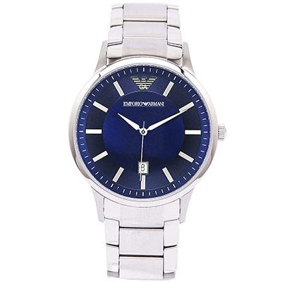 EMPORIO ARMANI 貴族氣息男性不鏽鋼手錶~湛藍面 AR2477  42mm