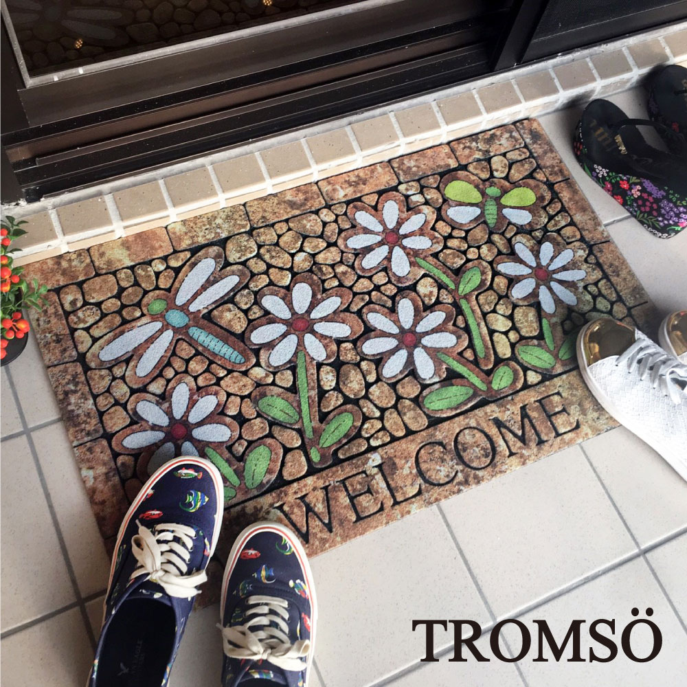 TROMSO戶外植絨橡膠厚實刮泥地墊(大)-春日花語