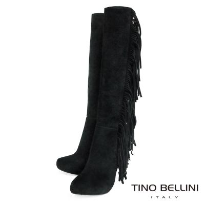 Tino Bellini 剛柔氣勢綻放流蘇高跟長靴_黑