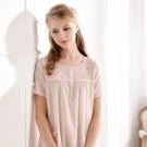 羅絲美睡衣 - 恬靜時光短袖洋裝睡衣(甜美粉)