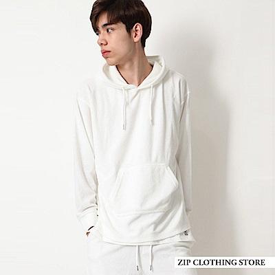 舒適毛巾布連帽衫(6色) ZIP日本男裝