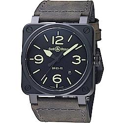 Bell& Ross經典時尚飛行械機腕錶(BR0392-BL3-CE/SCA)-42mm