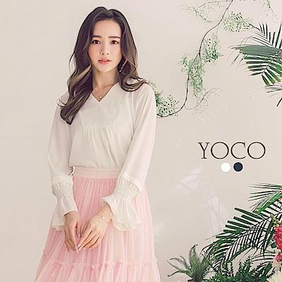 東京著衣-yoco 優雅百搭V領荷葉袖雪紡上衣-S.M.L(共二色)
