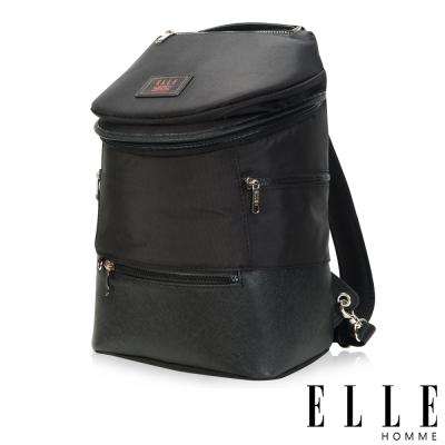 ELLE HOMME 法式精品休閒10吋筆電設計(小) 頭層皮直立體圓筒大容量後背包-黑
