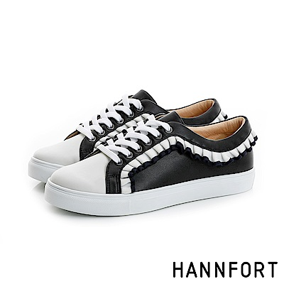 HANNFORT CAMPUS清新荷葉厚底休閒鞋-女-氣質黑