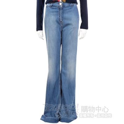 BLUGIRL 藍色仿舊刷色寬管牛仔褲