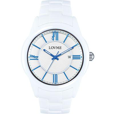 LOVME 羅馬戀人陶瓷時尚腕錶-白x藍刻度/44mm