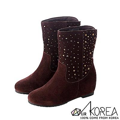 【AIRKOREA】正韓奢華水鑽真皮內增高短靴 ↑7cm 咖啡