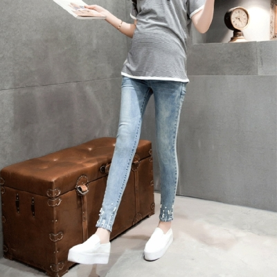 Keep-Chic孕婦裝-韓版時尚修身窄腳孕婦牛仔