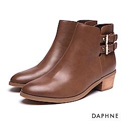 達芙妮DAPHNE 短靴-皮帶雙釦拼接開口粗跟踝靴-棕