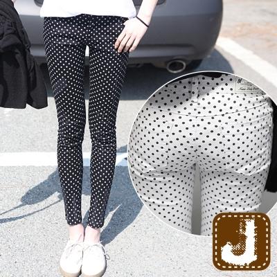 正韓 水玉點點中低腰窄管褲(共二色)-100%Korea Jeans
