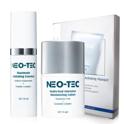 NEO-TEC妮傲絲翠玻尿酸 一年四季補水保濕組(水嫩多月太精華+鎖水保濕精華乳+面膜)