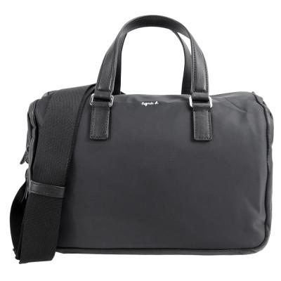agnes b.素面皮革飾邊兩用波士頓包(黑)
