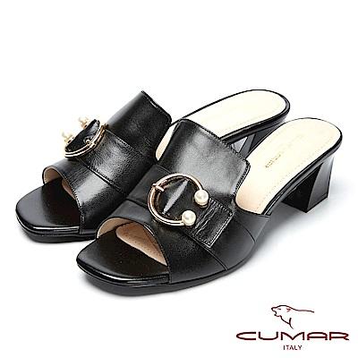 CUMAR時尚品味-珍珠裝飾真皮高跟涼鞋-黑色