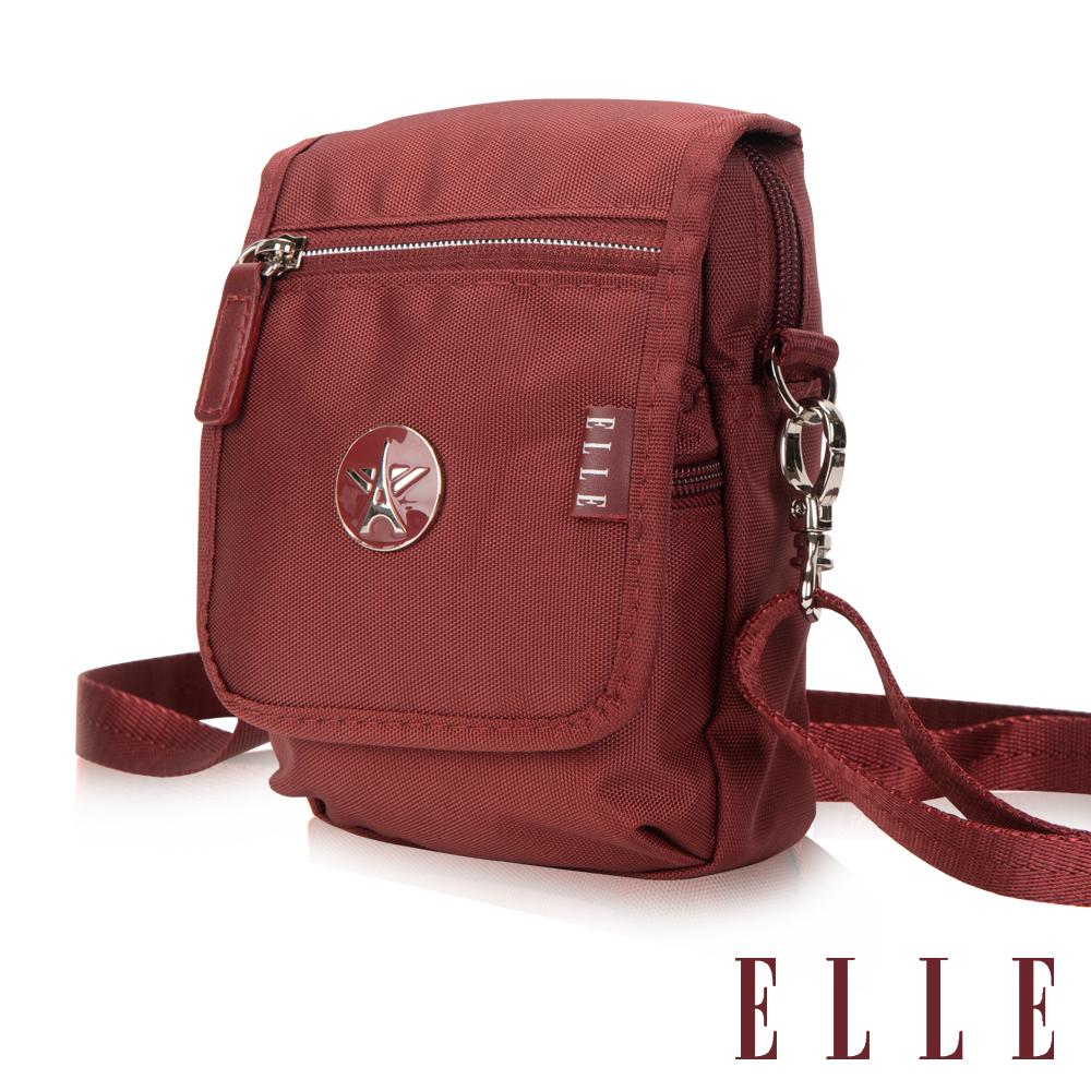 ELLE 法式優雅旅行隨身收納包/票券包- 酒紅色 EL83473