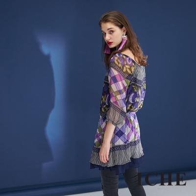 Hana+花木馬 平口圓領兩穿格紋印花拼接抽繩雪紡造型上衣洋裝-藍紫