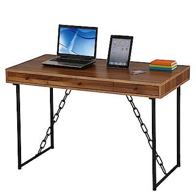 AT HOME - 卡斯特4尺淺胡桃三抽木質書桌 121x61x76cm