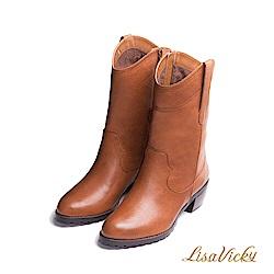 LisaVicky 冬天必備內鋪毛皮革長筒靴-深紅棕