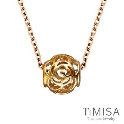 TiMISA 玫瑰花語 金純鈦串飾 項鍊(E)