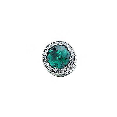 PANDORA  綠水晶圈鑲鋯石墜