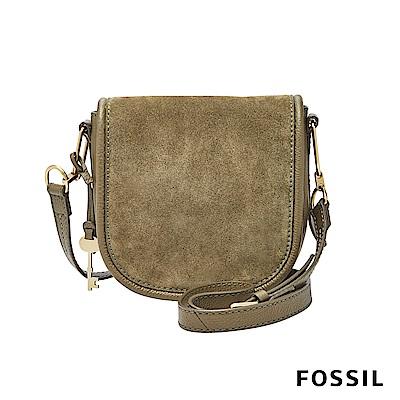 FOSSIL RUMI真皮側背馬鞍包-墨綠色