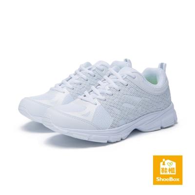 達芙妮DAPHNE ShoeBox系列-運動鞋-綁帶反光紋路運動鞋-白