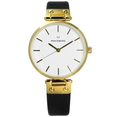 MOCKBERG SAGA 瑞典設計師品牌礦石強化玻璃防水真皮手錶-白x金框x黑/34mm