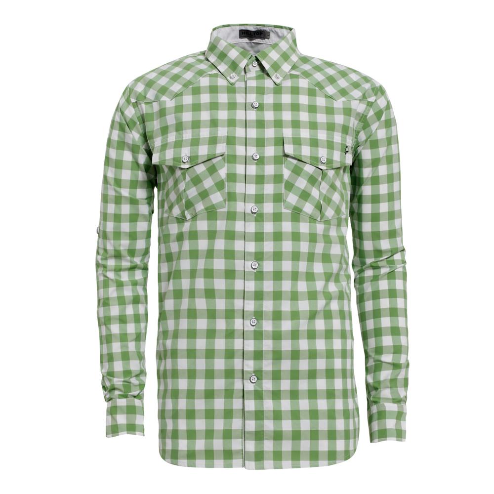 【hilltop山頂鳥】男款抗UV吸濕快乾長袖襯衫S05M53-綠/白格子