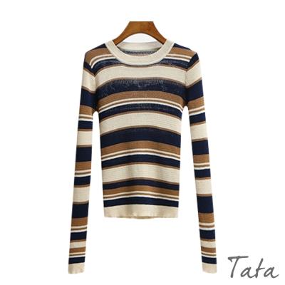 圓領條紋鏤空針織上衣-TATA