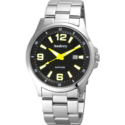 Audrey 歐德利 薄型設計紳士腕錶(AUM2593)-黑x黃指針/42mm