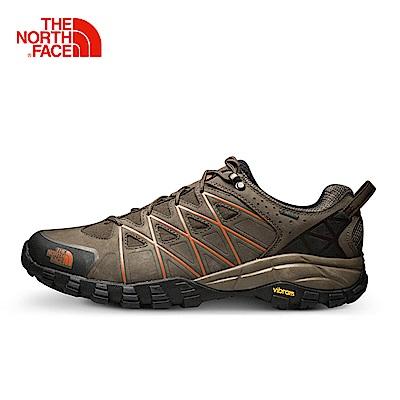 The North Face北面男款咖啡色防水抓地登山鞋