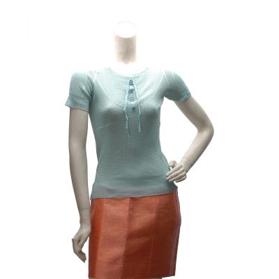 LV 蝴蝶結X小花鈕釦設計真絲短袖針織上衣(蘋果綠-S)