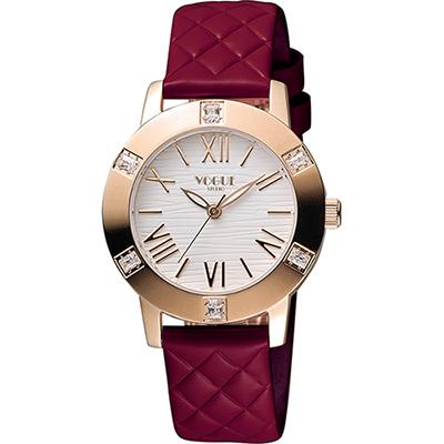 VOGUE 時尚菱格紋羅馬腕錶-白x紅/34mm