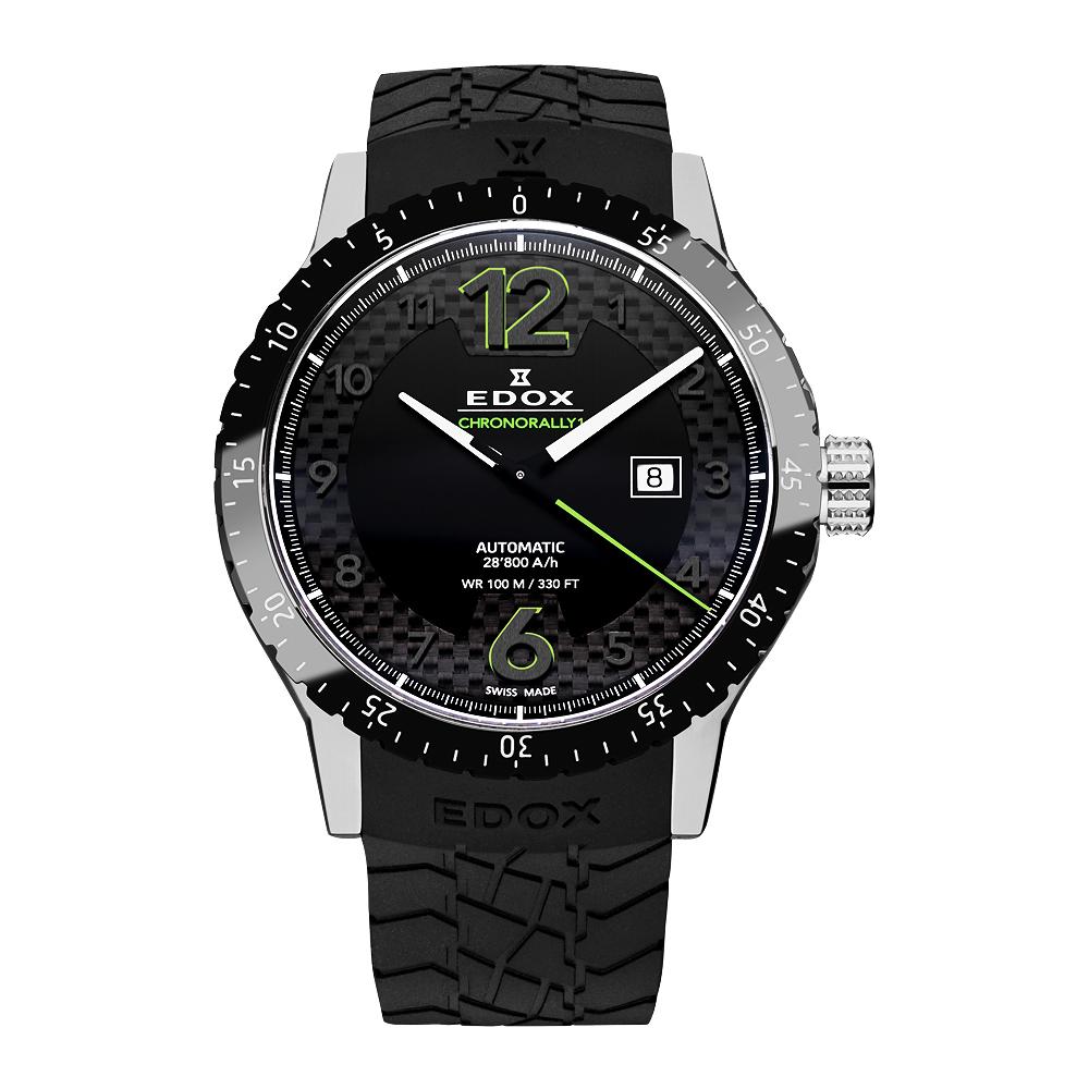 EDOX Chrororally 1 碳纖維大三針機械腕錶-黑x綠/45mm