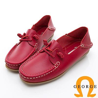 GEORGE 喬治-水洗系列 素面繩結大底休閒鞋 女鞋-紅