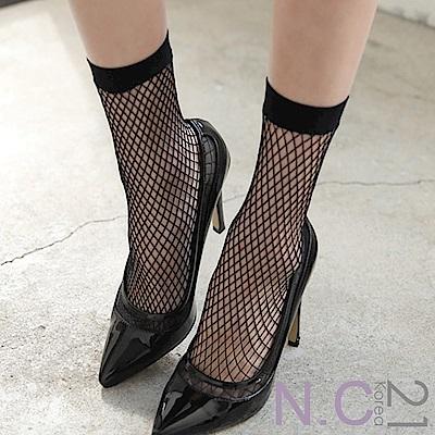 N.C21- 正韓 迷人縷空網格中筒襪 (黑色)