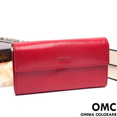 OMC-原皮魅力系列多層手拿式長夾-經典紅