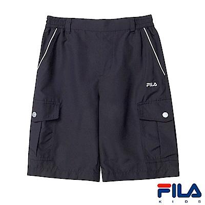 FILA KIDS 男童平織5分褲-黑 1SHS-4434-BK