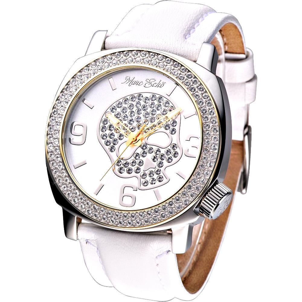 MARC ECKO 嘻皮龐克晶鑽骷髏時尚腕錶-白/46mm