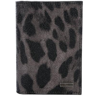 DOLCE-GABBANA-豹紋圖騰對折皮夾-灰色