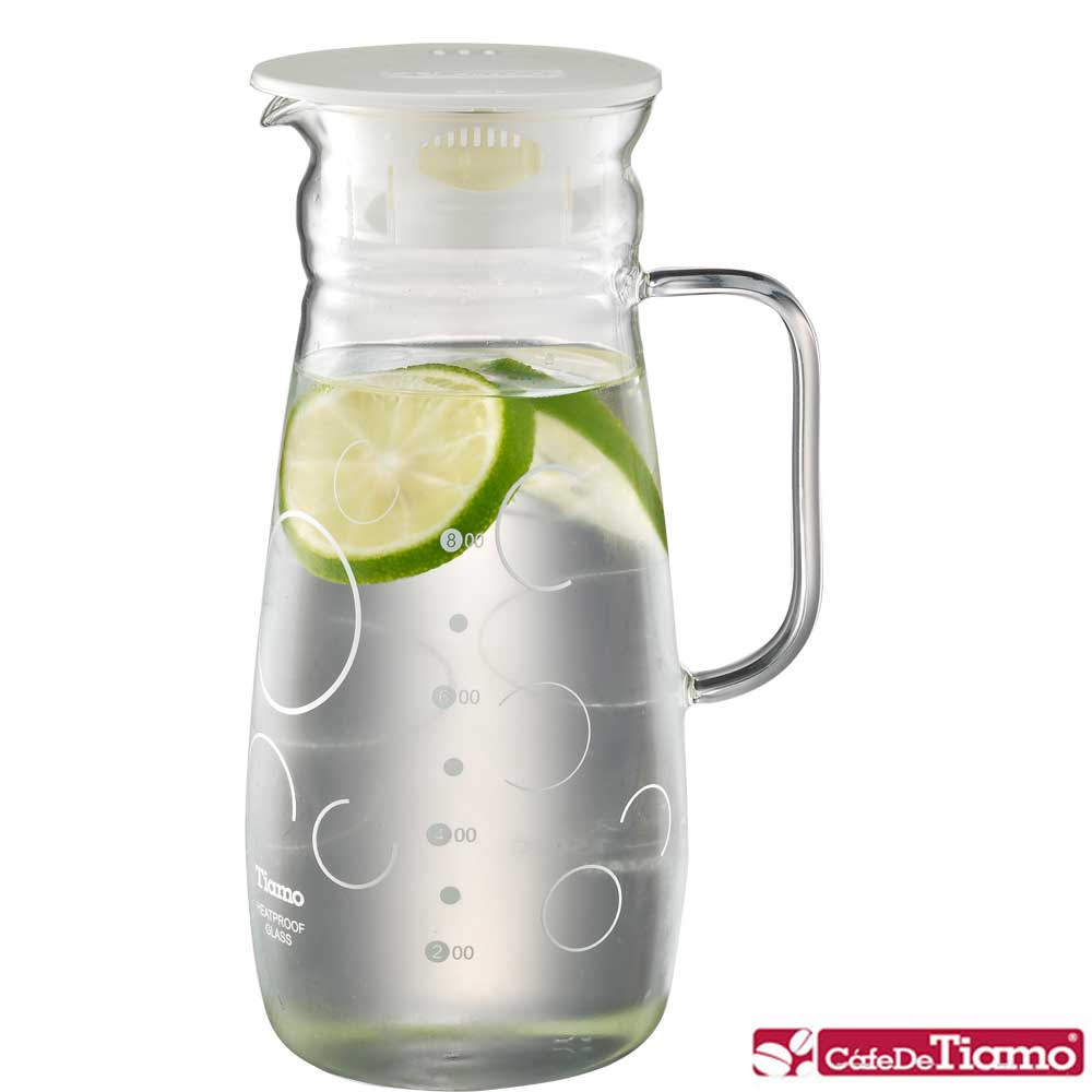 Tiamo 幾何圖案玻璃水壺附把手 1.0L-白色款(HG2285)
