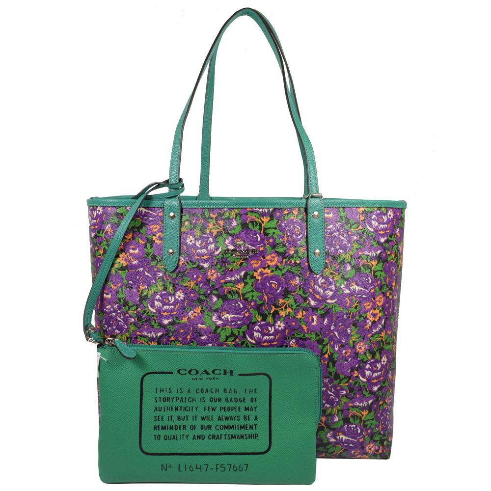 COACH 馬車LOGO花海圖案雙面大購物托特包.紫/綠COACH