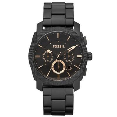 FOSSIL 絕讚霸氣視覺三眼計時腕錶-咖啡/45mm
