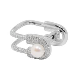 apm MONACO法國精品珠寶 經典別針珍珠造型鑲鋯戒指
