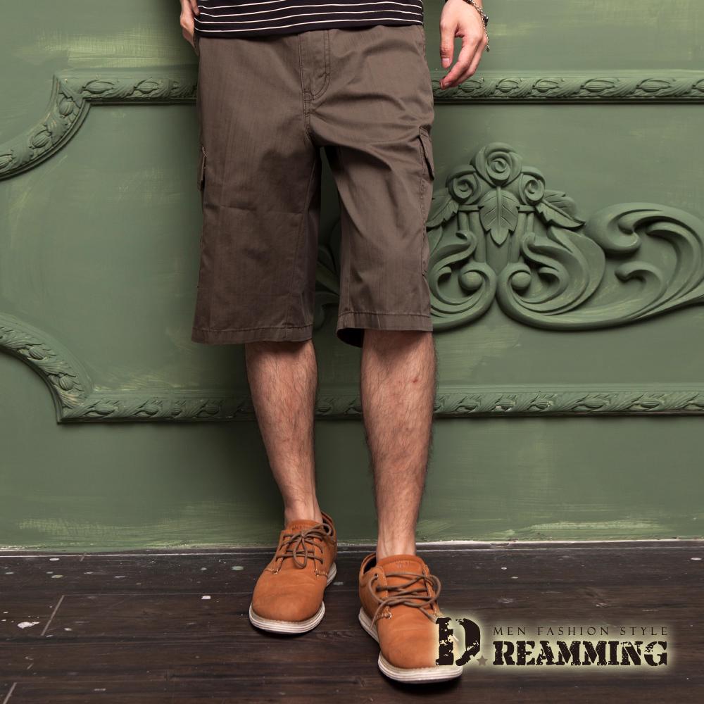 Dreamming 原宿輕薄透氣多口袋休閒七分短褲-軍綠