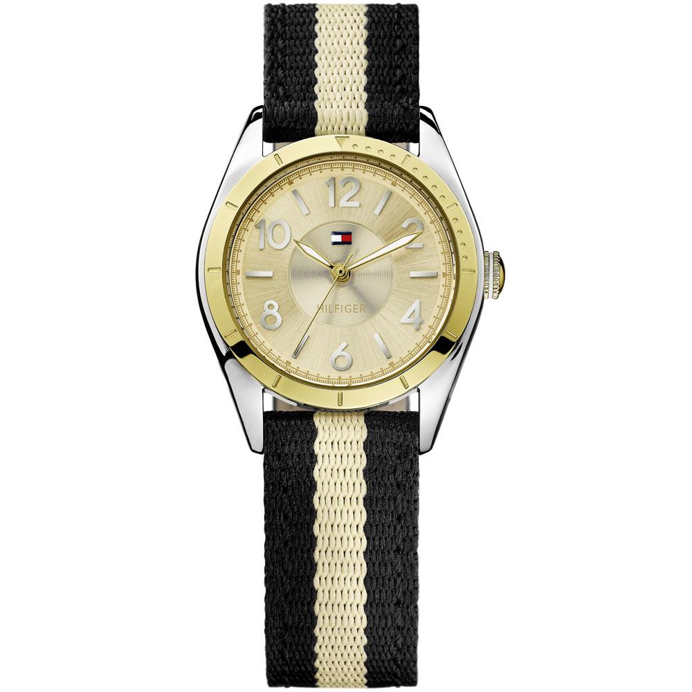 TOMMY HILFIGER 雙色美式風帆布腕錶-金x黑/30mm