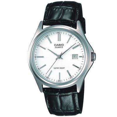 CASIO 羅馬時尚精緻紳士皮帶腕錶(MTP-1183E-7A)-銀白/37mm