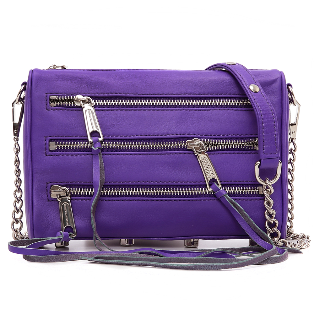 REBECCA MINKOFF MINI 5 ZIP肩/斜背包(紫色銀鍊)